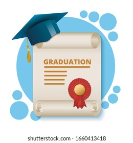 graduation diploma in the form of a scroll with an academic cap on a white background, EPS 10
