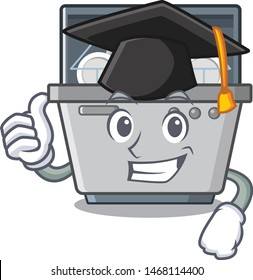 Graduation dishwasher machine isolated in the cartoon