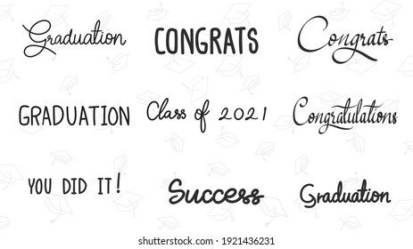 Graduation drawn calligraphy set in congratulations isolated on white background, Vector illustration EPS 10