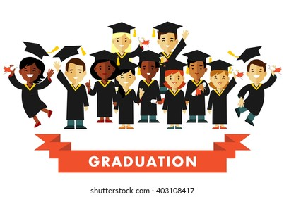 Graduation education concept in flat style. Different happy young graduate students people with graduate cap and certificate isolated on white background