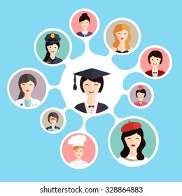 Graduation female student make career choices: businessman, doctor, artist, designer, cook, police, teacher, stewardess, admin. Vector illustration.