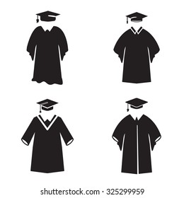 Graduation gown icon in four variations