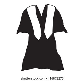 Graduation Gown with Stole/Sash, Black Vector Icon