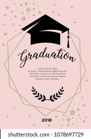 """Graduation. Greeting card at the prom. Geometrical framework with an academic cap and the word """"Graduation"""""""