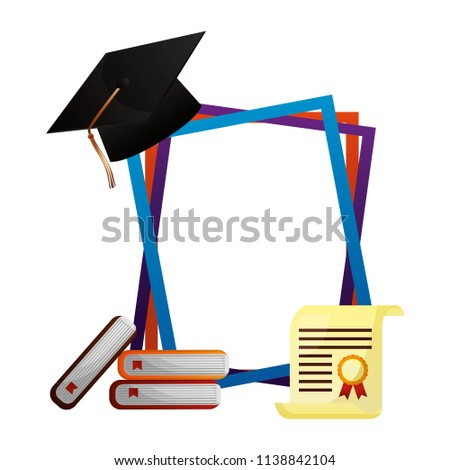 Graduation Hat Books Certificate Frames Stock Vector (Royalty Free ...