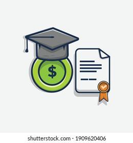 graduation hat, coin, and graduation letter cartoon vector illustration design. scholarship design concept. flat cartoon style