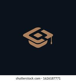 Graduation Hat Combine letter B and letter C Logo Designs