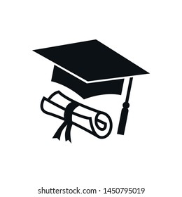 Graduation hat diploma icon logo