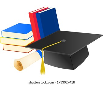 Graduation hat, diploma and some books on white background