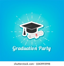 Graduation hat icon. Graduation cap, hat. Graduation Party lettering. Vector illustration isolated on white background.