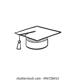 Graduation hat icon in doodle sketch lines. Education college student success diploma