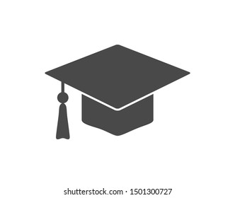 Graduation hat  icon. University cap.