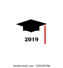 Graduation hat Logo Template Design Elements 2019. Vector illustration isolated on white background.