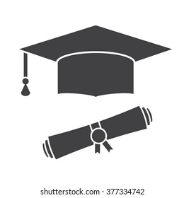 Graduation hat and rolled diploma. Graduate cap silhouette pictogram for web and applications. Isolated vector graduation outline icon hat with education certificate.