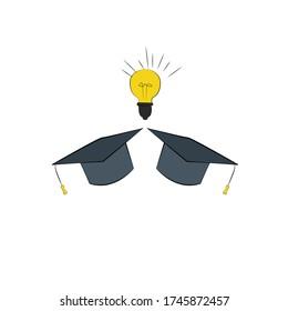 Graduation hats. Concept of education
