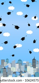 Graduation hats high up in the air above the city. Graduation ceremony banner. Vector card.