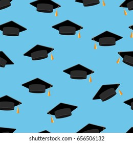 Graduation hats. Seamless pattern. Blue background. Vector illustration.