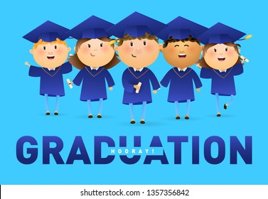 Graduation, Hooray banner design. Happy graduates in mortarboards and gowns holding diplomas on blue background. Illustration can be used for banners, flyer, commencement ceremony