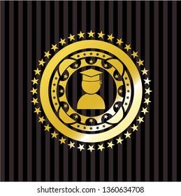 graduation icon inside shiny badge