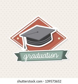 graduation icon over vintage background vector illustration