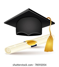 Graduation icons set. Vector cap and diploma.