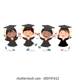 Graduation kids celebration isolated. Diversity school kids.