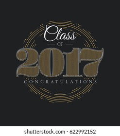 Graduation Label - Class of 2017 - Elegant Line Design with Gold and White on Black Background