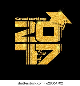 Graduation label. Vector text for graduation design, congratulation event, party, high school or college graduate. Gold Lettering Class of 2017 for greeting, invitation card