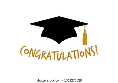 Graduation Logo Design with congratulations greeting- Vector illustration