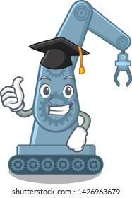 Graduation mechatronic robotic arm in mascot shape
