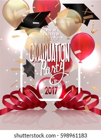 Graduation party 2017 banner with hats, air balloons, confetti and curly serpentine. Vector illustration