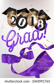 Graduation party 2018 banner with purple curly silk ribbon and air ballons with hats. Vector illustration