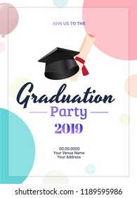 Graduation party 2019 invitation card or template design with illustration of mortarboard and diploma.