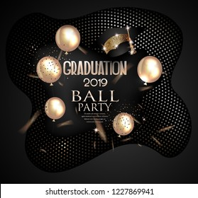 Graduation party 2019 invitation card with textured halftone effect background, air balloons . Vector illustration