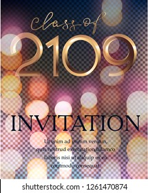 Graduation party 2019 invitation card with bokeh background. Vector illustration