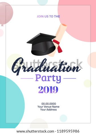 graduation party 2019 invitation card template stock vector royalty