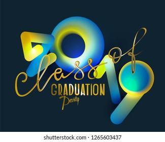 Graduation party 2019 with volume abstract numbers and gold letters. Vector illustration