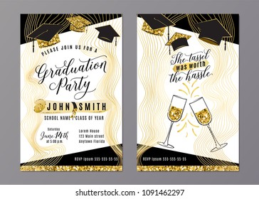 Graduation party class of 2018 vertical invitation card with black gold hats, glasses, diploma. Back and front side. Vector typography lettering illustration for celebrating date. Web or print design