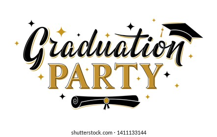 Graduation party greeting sign with academic cap. Vector design for graduation design, congratulation ceremony, invitation card, banner. Grads symbol for university, high school, academy, college