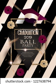 Graduation party invitation card with cofetti, gerbera flowers and golden frames. Vector illustration
