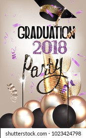 Graduation party invitation card with deco elements and sparklers. Vector illustration