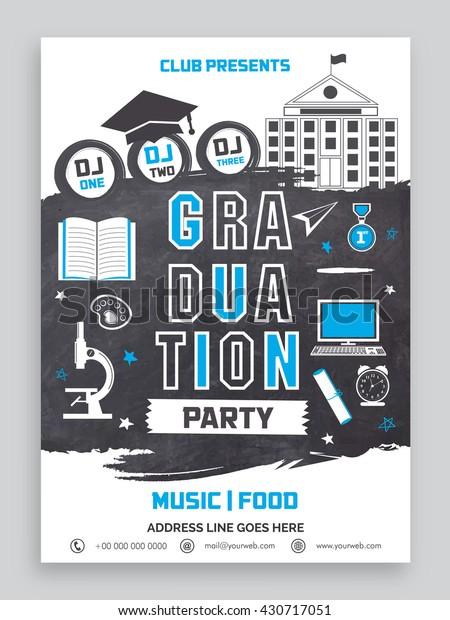 Graduation Party Invitation Card Design Various Stock Vector