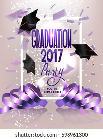 Graduation Party invitation card with flying hats, curly ribbons and confetti. Vector illustration