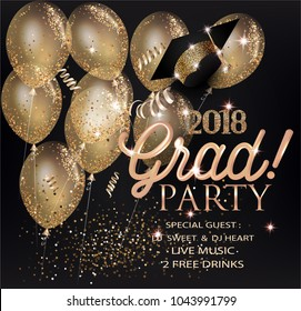 GRADUATION PARTY INVITATION CARD WITH GOLD AIR BALLOONS, SERPENTINE AND GRADUATION CAP. VECTOR ILLUSTRATION