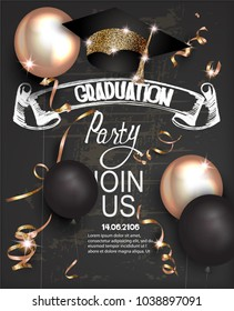 Graduation party invitation card with golden serpantine, graduation cap, air balloons and blackboard background. vector illustration