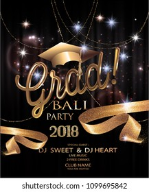 Graduation party invitation card with golden sparkling,ribbons, confetti and garlands. Vector illustration
