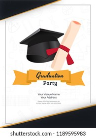 Graduation invitation images stock photos vectors shutterstock graduation party invitation card or template design with illustration of mortarboard and diploma on white background filmwisefo