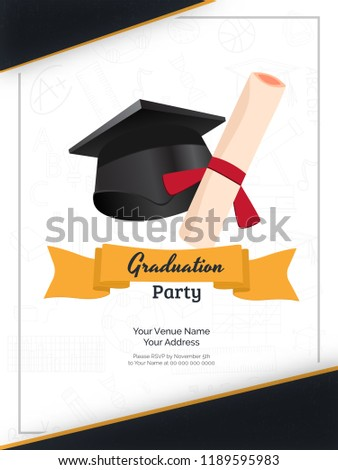 graduation party invitation card or template design with illustration of mortarboard and diploma on white background