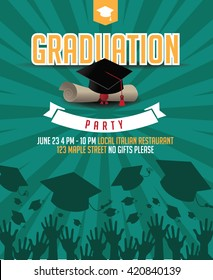 Graduation party mortarboard and diploma invitation background. EPS 10 vector.