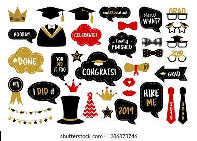 Graduation party photo booth props. Photobooth vector set: hat, cap, diploma, mustache, kiss, glasses. Congrats grad. Gold and black bubbles with funny quotes. Concept for selfie
